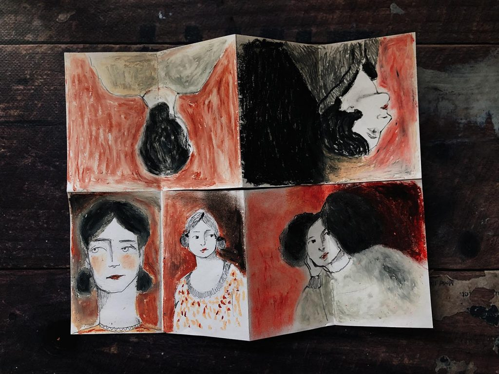 An eight-page scene depicting illustrations of victorian ladies in oil pastel