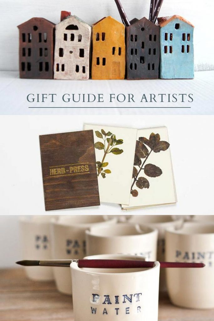Collage of pencil holders, herb press and paint water cup for artists