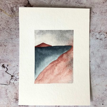 Blue and red landscape in watercolour1